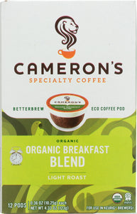 CAMERONS COFFEE: Breakfast Blend Organic Coffee 12 packets, 4.33 oz
