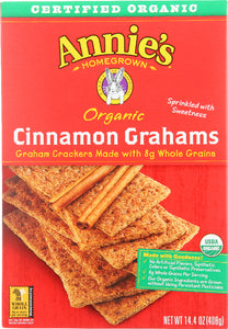 ANNIE'S HOMEGROWN: Organic Whole Grain Grahams Cinnamon Crackers, 14.4 oz