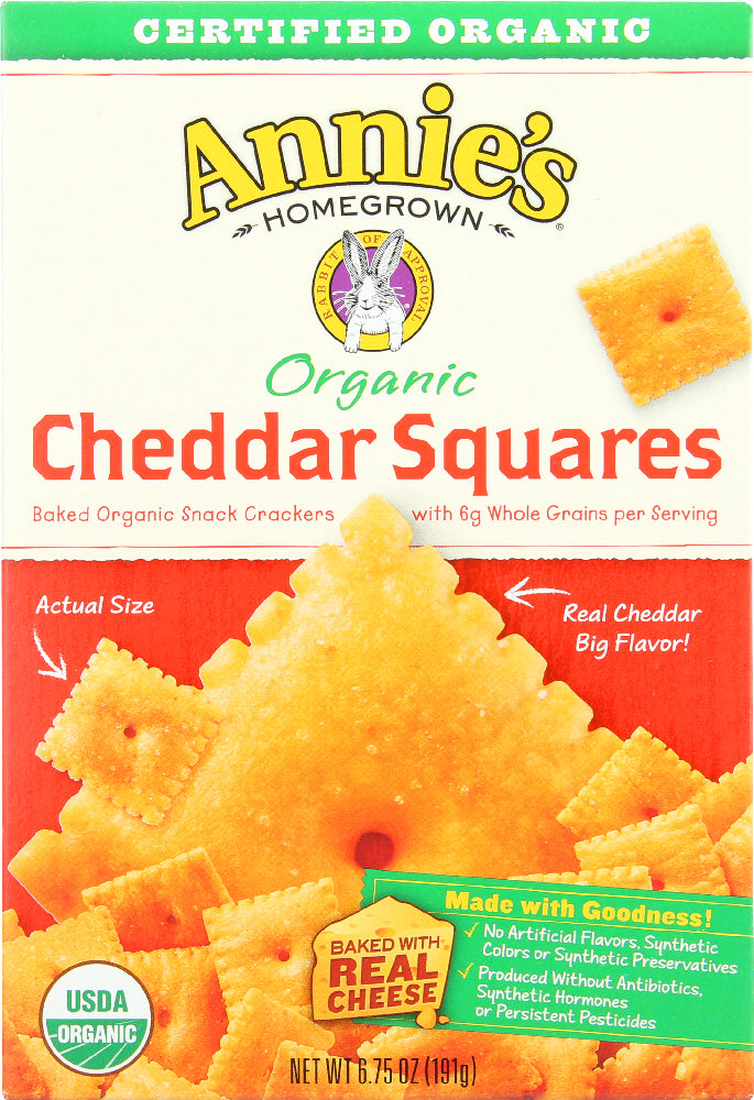 ANNIES HOMEGROWN: Cracker Cheddar Square Organic, 6.75 oz