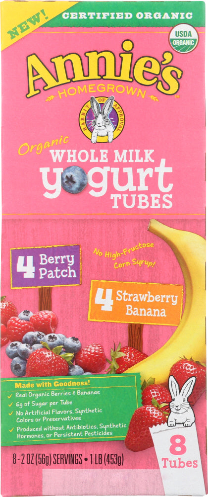 ANNIES HOMEGROWN: Organic Whole Milk Yogurt Tubes, 16 oz