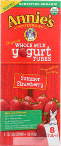 ANNIES HOMEGROWN: Organic Whole Milk Yogurt Tubes Summer Strawberry, 16 oz