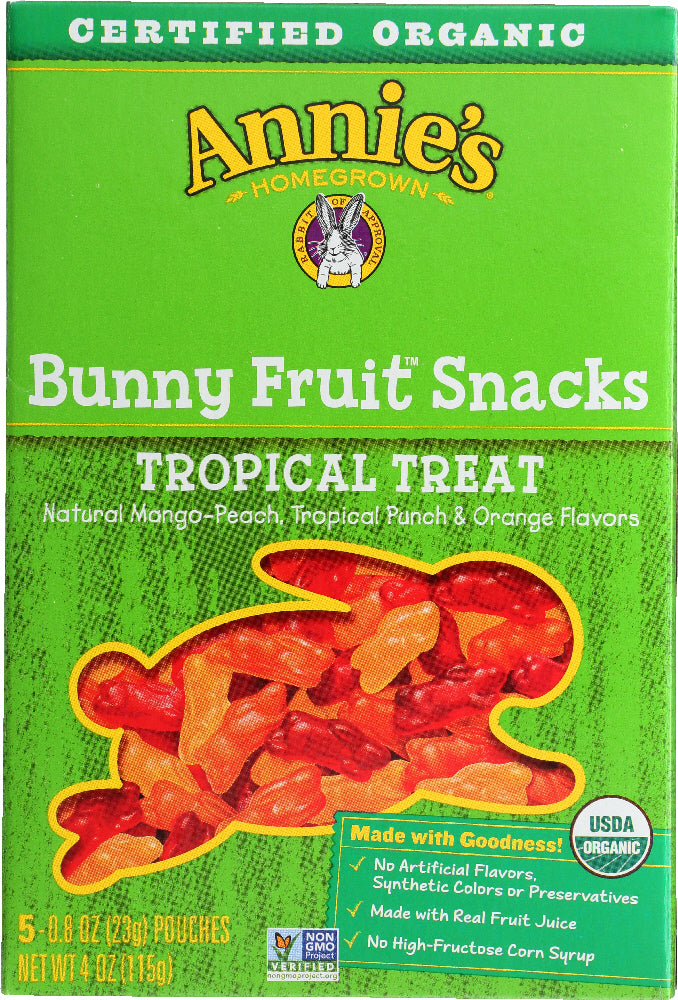 ANNIE'S HOMEGROWN: Organic Bunny Fruit Snacks Tropical Treat, 4 oz