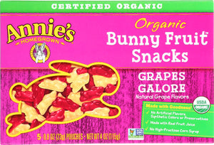 ANNIE'S HOMEGROWN: Organic Bunny Fruit Snacks Grapes Galore, 4 Oz