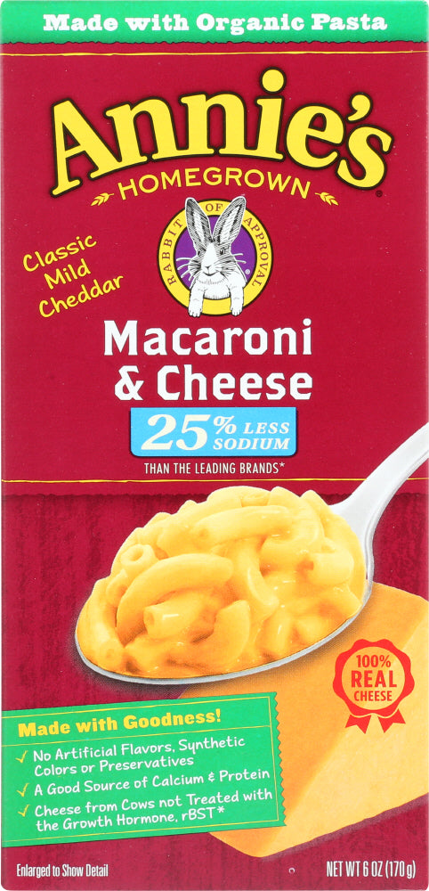 ANNIES HOMEGROWN: Macaroni & Cheese Low Sodium, 6 oz