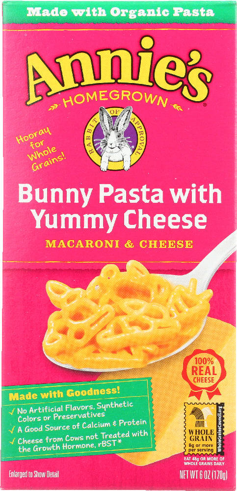 ANNIE'S HOMEGROWN: Bunny Pasta with Yummy Cheese, 6 Oz