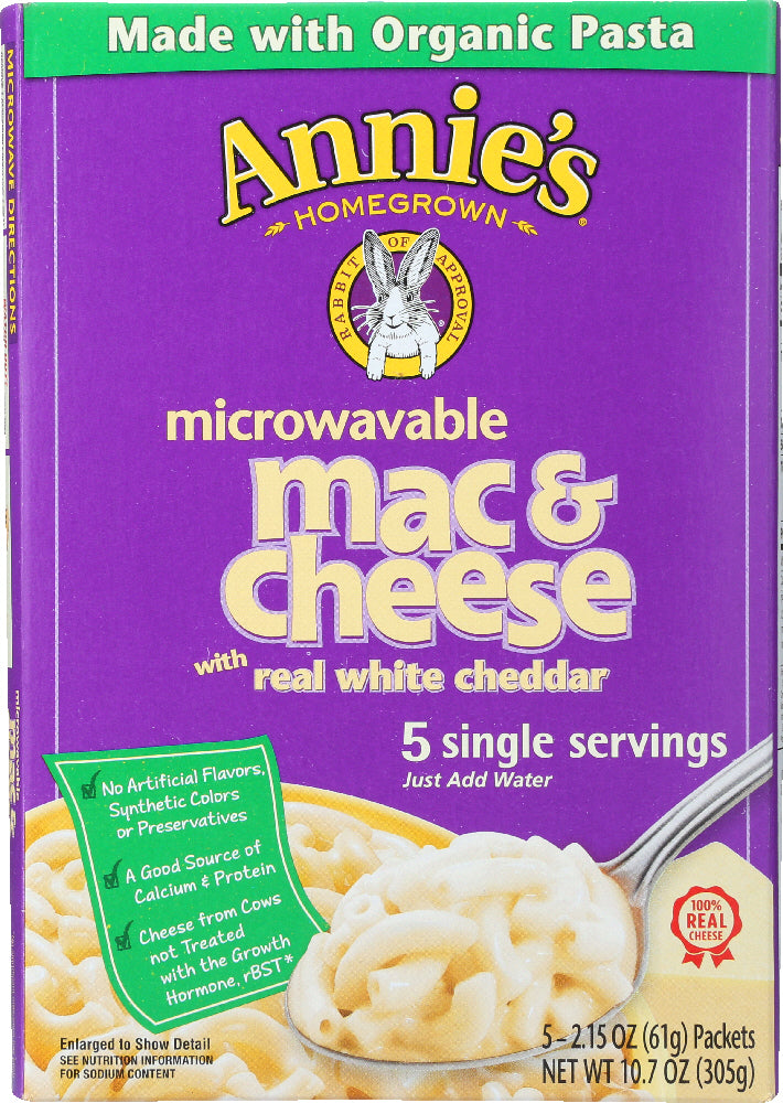 ANNIE'S HOMEGROWN: Macaroni and Cheese with Real White Cheddar 5 Single Servings, 10.7 Oz
