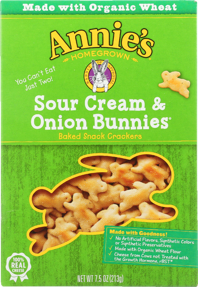 ANNIE'S HOMEGROWN: Bunnies Crackers Sour Cream & Onion, 7.5 Oz