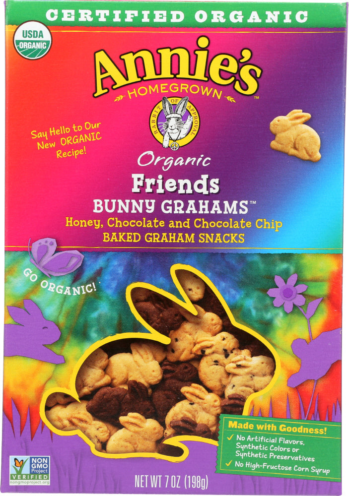 ANNIES HOMEGROWN: Friends Organic Bunny Grahams Honey Chocolate & Chocolate Chip, 7 oz