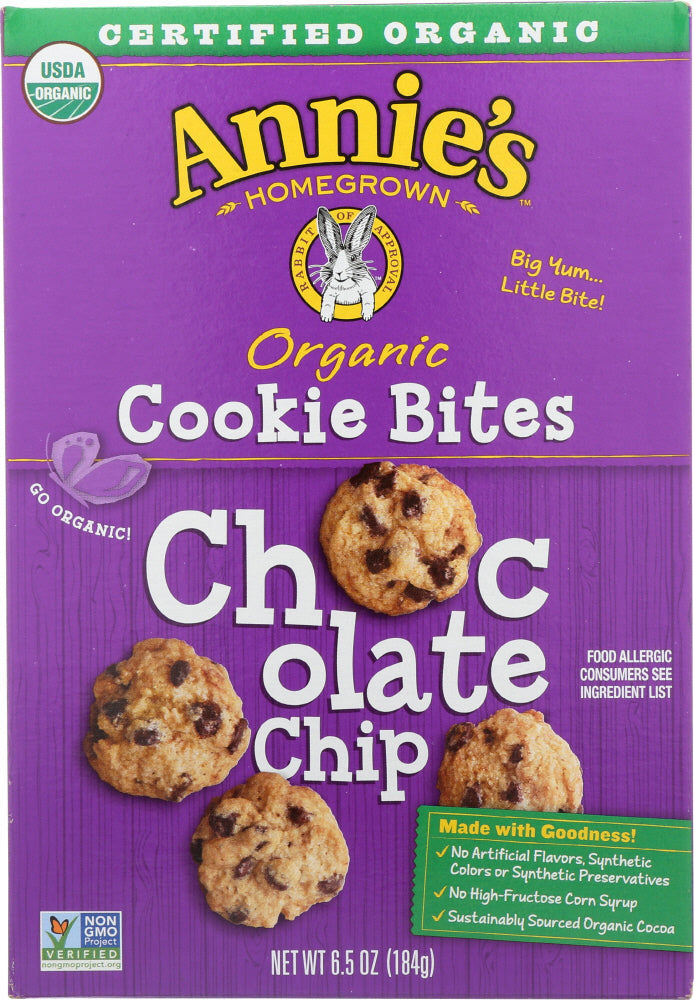 ANNIES HOMEGROWN: Organic Cookie Bites Chocolate Chips, 6.5 oz