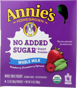 ANNIES HOMEGROWN: Yogurt Raspberry Strawberry Spinach 4pk, 14 oz