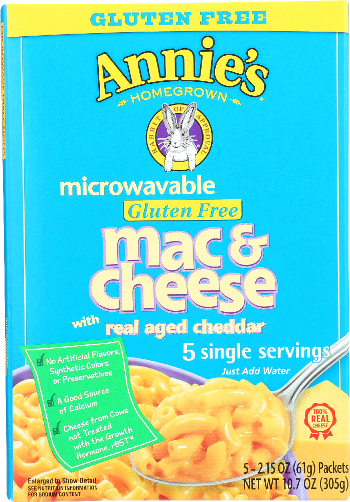 ANNIE'S HOMEGROWN: Microwavable Gluten Free Mac & Cheese, 10.7 Oz
