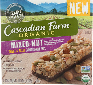 CASCADIAN FARM: Mixed Nut Sweet & Salty Chewy Granola Bars, 6.2 oz