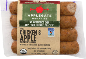 APPLEGATE: Organic Chicken and Apple Sausage, 12 oz