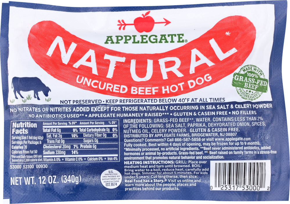 APPLEGATE: Natural Uncured Beef Hot Dogs, 12 Oz