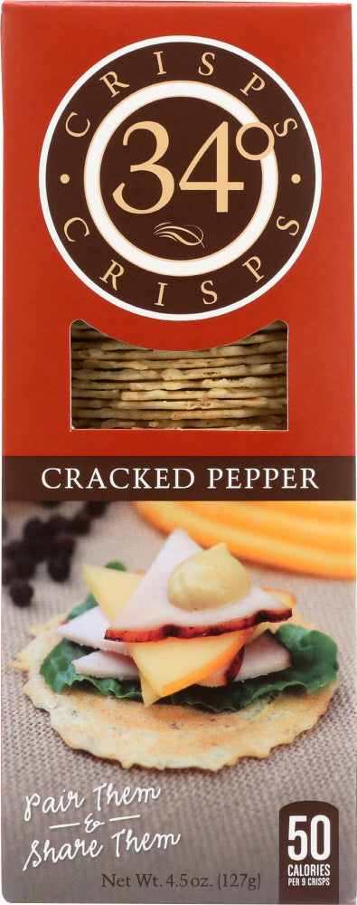 34 DEGREES: Cracked Pepper Crispbread, 4.5 oz