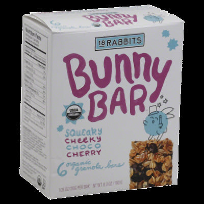 18 RABBITS: Chocolate Cherry Jr. Organic Gluten Free Granola Bar 6 Count, 1.05 oz