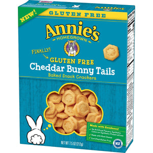 ANNIES HOMEGROWN: Gluten Free Cheddar Bunny Tail Snack Crackers, 7.5 oz