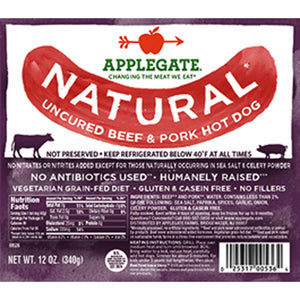 APPLEGATE: Natural Uncured Beef & Pork Hot Dog, 12 oz