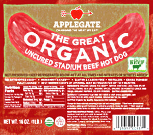 APPLEGATE: The Great Organic Uncured Stadium Beef Hot Dog, 16 oz