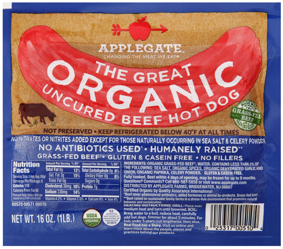 APPLEGATE: The Great Organic Beef Hot Dog Uncured, 16 oz