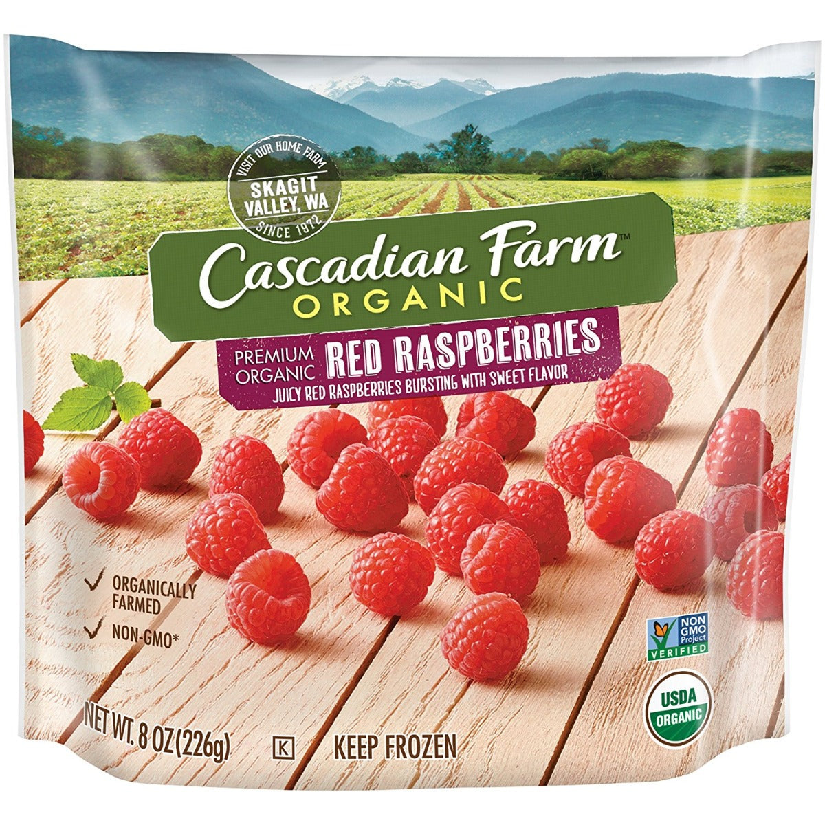 CASCADIAN FARM: Red Raspberries, 8 oz
