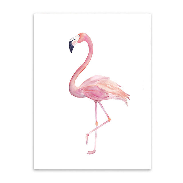 pink flamingo cotton canvas poster the scandique