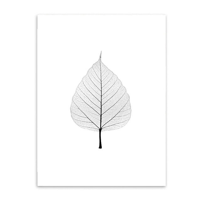 leaf outline cotton canvas poster the scandique