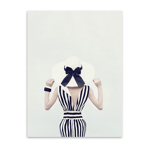 woman with a hat cotton canvas poster the scandique