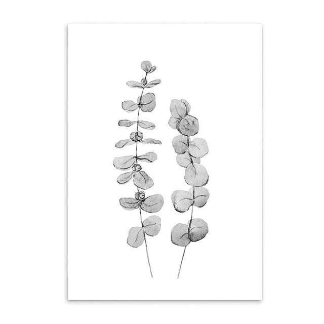 leaves on stems cotton canvas poster the scandique