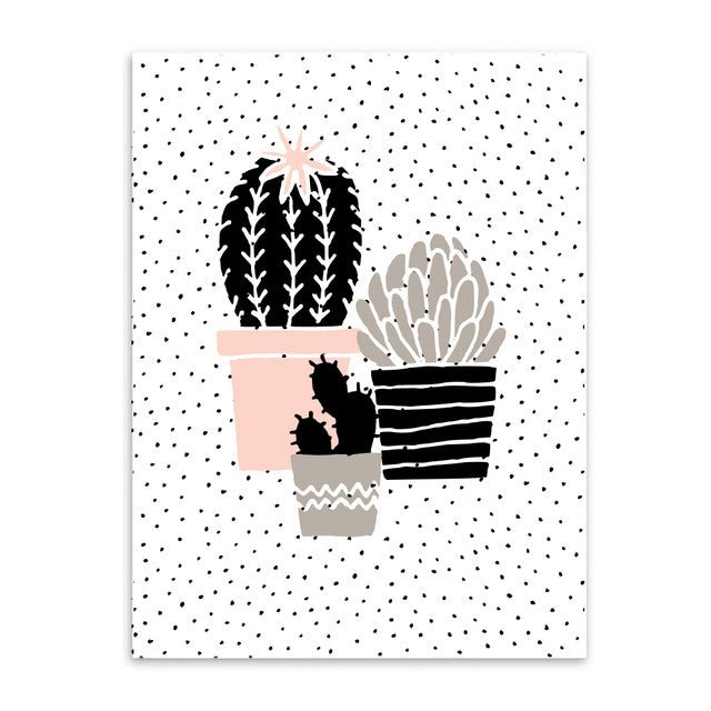 plant pot trio cotton canvas poster the scandique