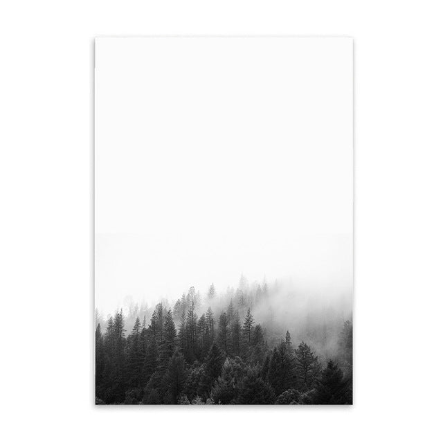 forest in fog cotton canvas poster the scandique