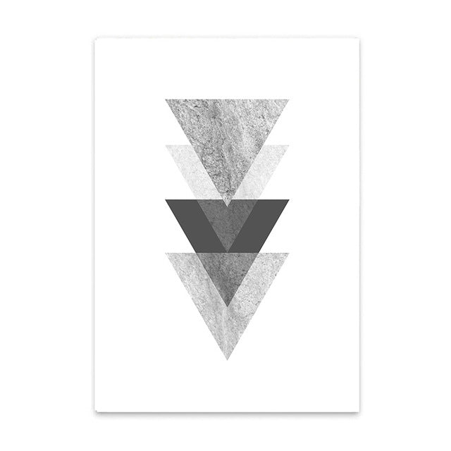 Downward arrows triangles cotton canvas poster the scandique