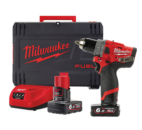 Milwaukee slagboremaskine 12V, 2 batterier, lader, kuffert