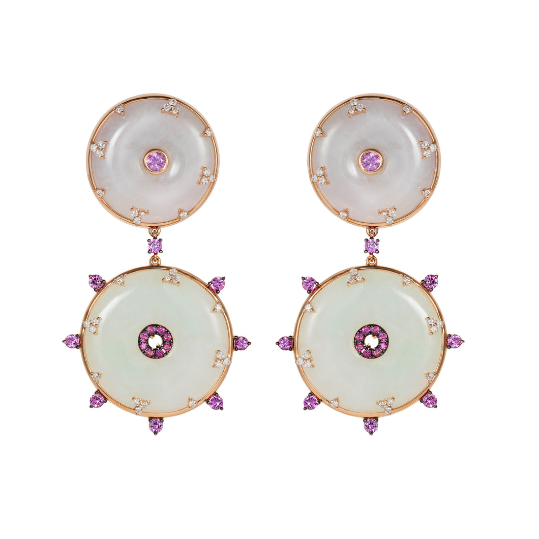 Celeste Jade and Pink Sapphire Earrings