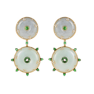 Celeste Tsavorite & Jade Earrings