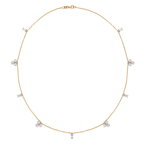 Elle Et Lui Diamond & Pearl Necklace