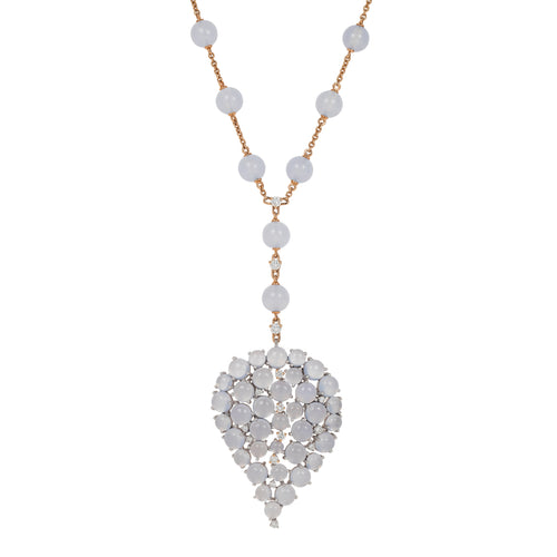 Grandes Feuilles Long Chalcedony Necklace