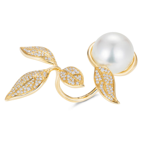 Mille et Une Feuilles Yellow Pearl Ring