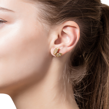 Load image into Gallery viewer, Petite Feuille Yellow Stud Earrings