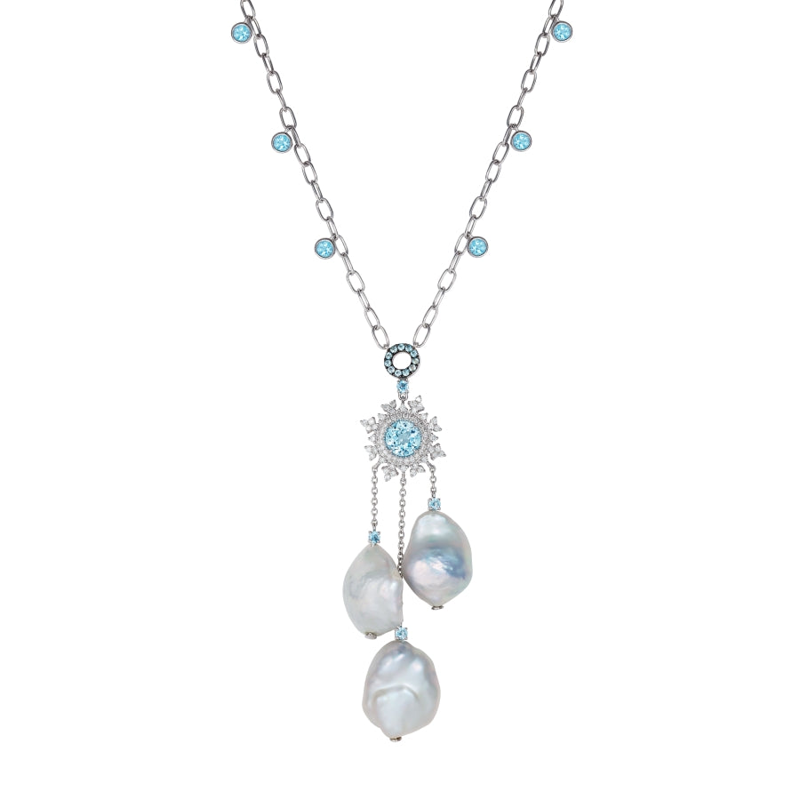 Tsarina Ice Flake & Baroque Pearl Necklace