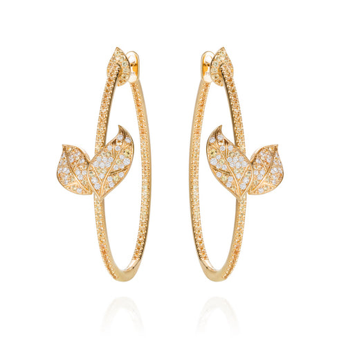Petites Feuilles Hoops in yellow gold