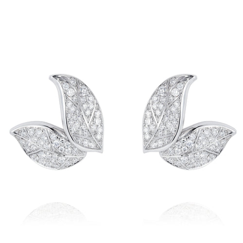 Petite Feuille White Stud Earrings