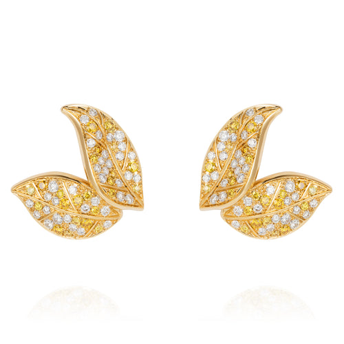 Petite Feuille Yellow Stud Earrings