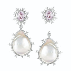 Tsarina Kunzite & Baroque Pearl Earrings