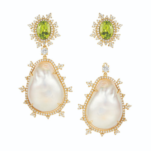 Tsarina Spring Flake & Baroque Pearl Earrings