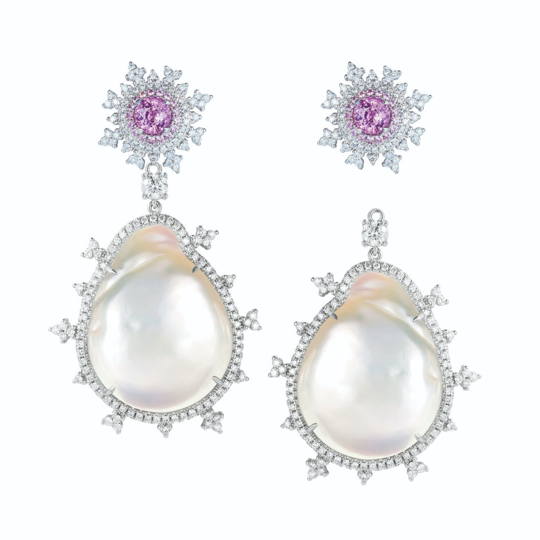 Tsarina Berry Flake & Baroque Pearl Earrings