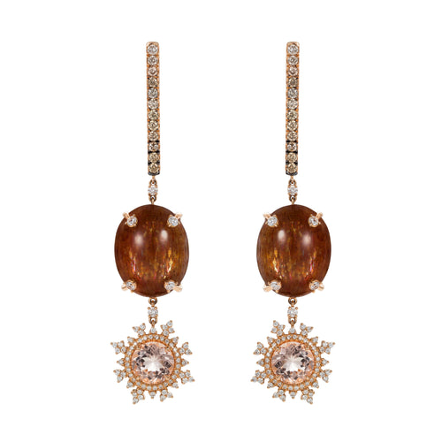 Tsarina Sunstone and Rose Flake Earrings