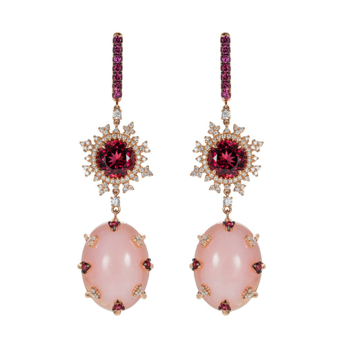 Tsarina Berry Flake and Pink Chalcedony Earrings