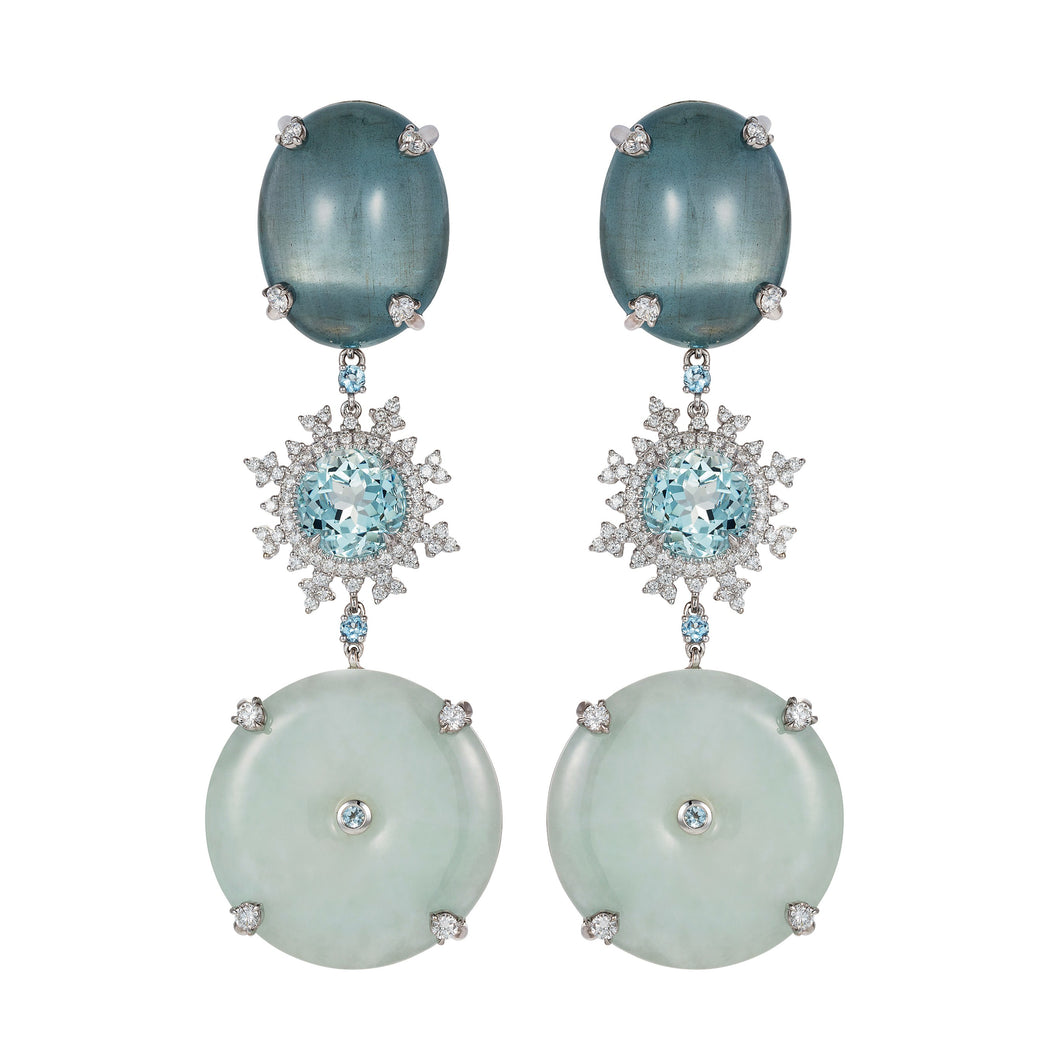Tsarina Ice Flake and Jade Earrings