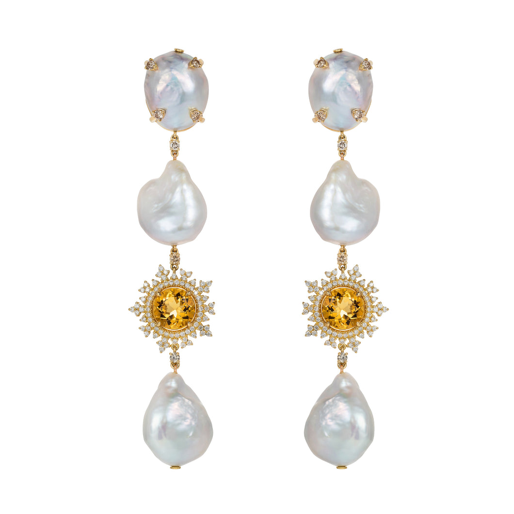 Tsarina Sun Flake & Baroque Pearl Earrings